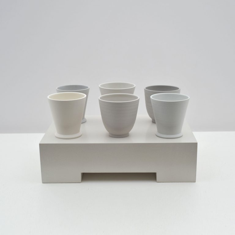 Six Cups and Beakers on a Ground, 2017