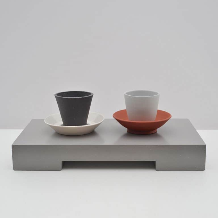 Two Cups and Saucers on a Ground, 2017
