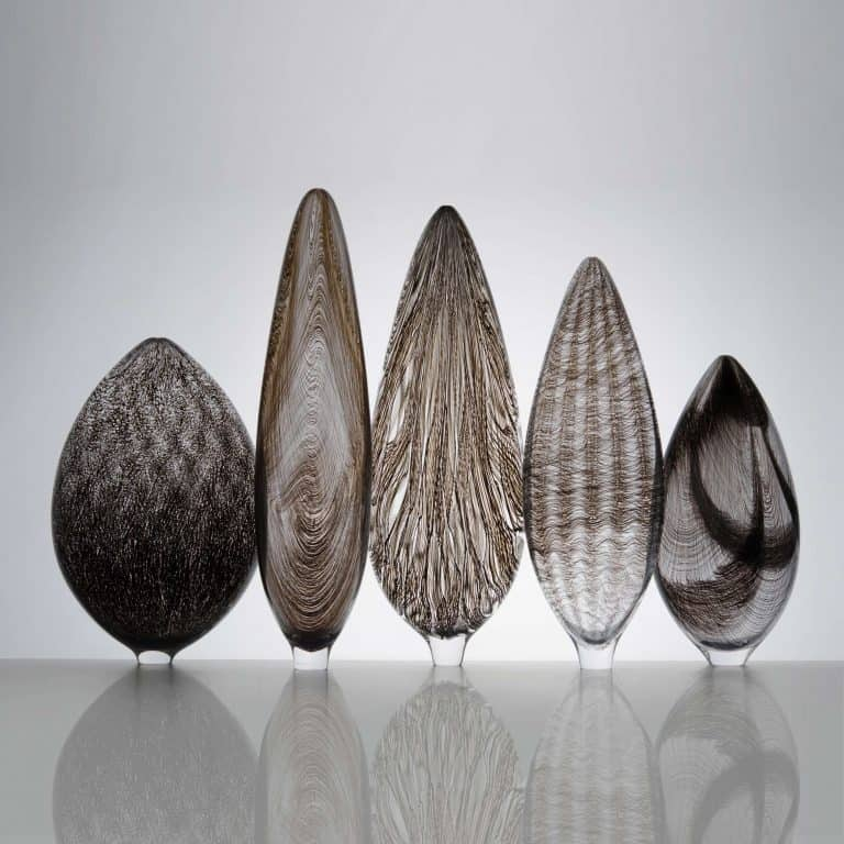 Collection of Five Black Twill Vessels, 2016