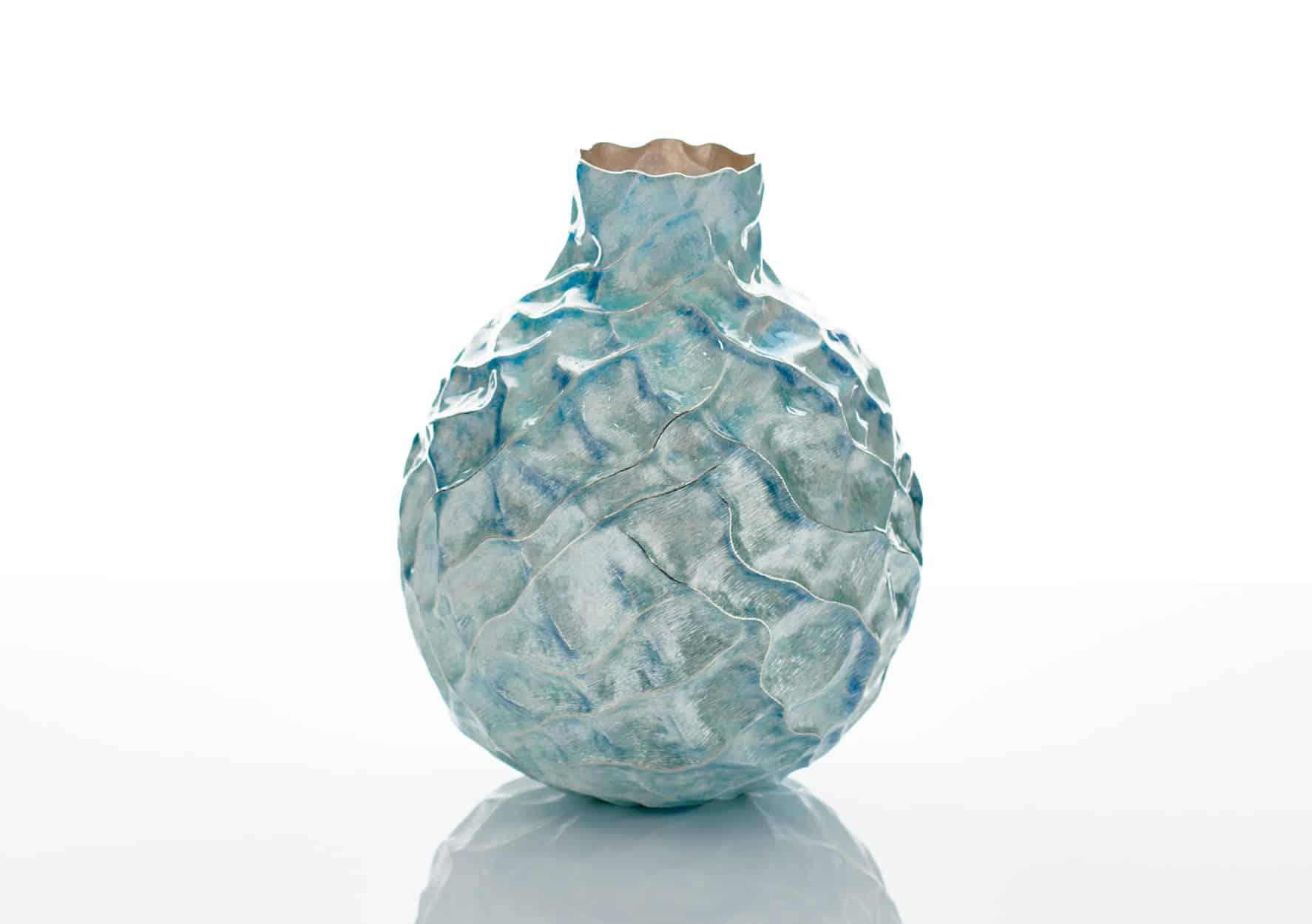Hiroshi Suzuki silver and enamel vase