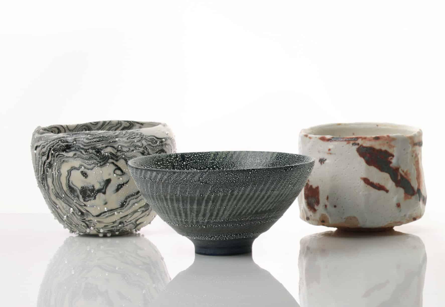 Group of tea bowls by Takahiro Kondo