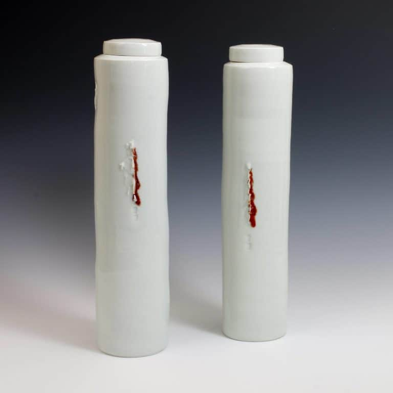 A Pair of Lidded Celadon Jars, 1996