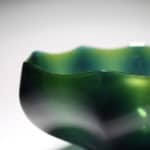 Detail of Joon Yong Kim Green Flower Bowl, 2020 Blown and cold-worked glass Made by the artist in South Korea