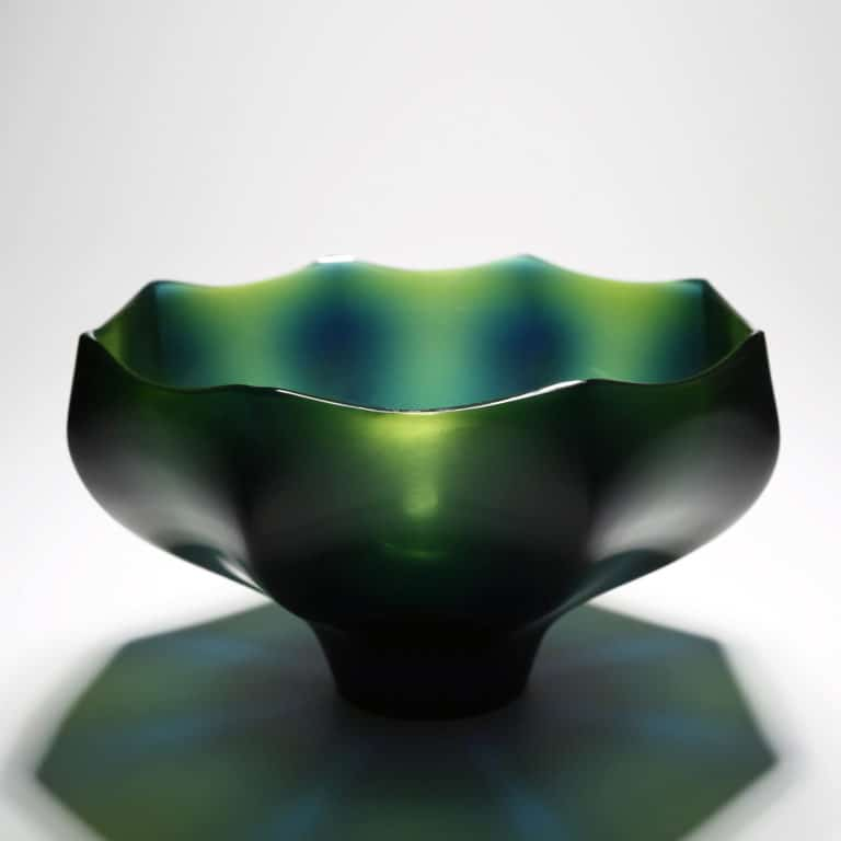Joon Yong Kim Green Flower Bowl, 2020 Blown and cold-worked glass Made by the artist in South Korea