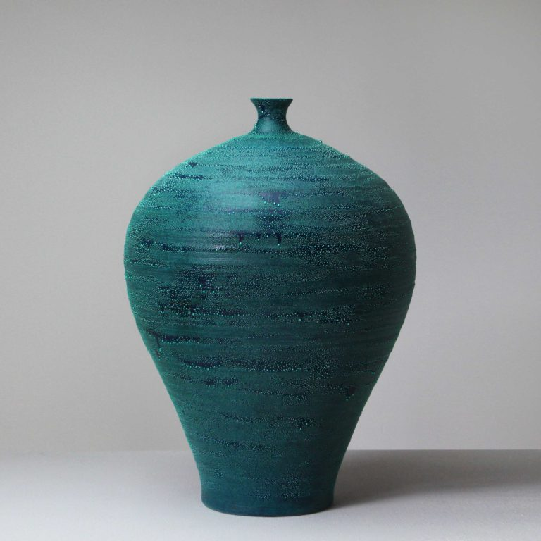Takahiro Kondo Turquoise Blue Mist, 2020 Porcelain vase with silver mist over-glaze Made by the artist in Japan