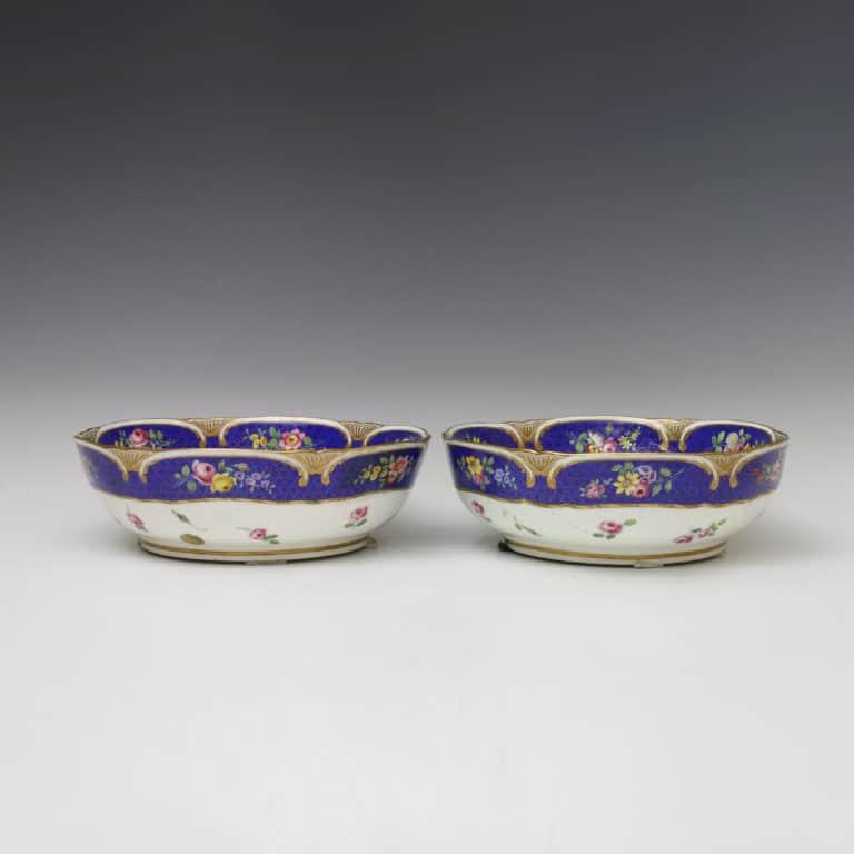 A Pair of Soft-Paste Sèvres Porcelain Salad Bowls 1771 (saladiers) Painted by Bouillat
