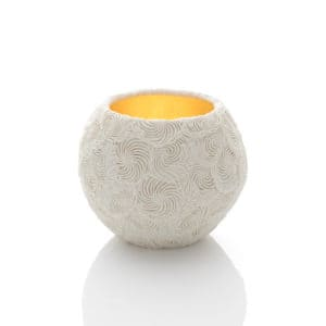 Hitomi Hosono A Kaze Bowl, 2020 Moulded, carved and hand-built porcelain with yellow gold leaf interior