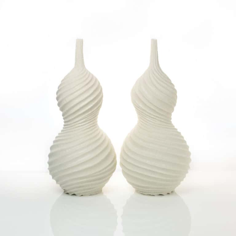 Andrew Wicks Pair of Gourd Vases, 2020 Thrown and carved porcelain H.14 5/8 W.13 3/4 D.6 1/4 in