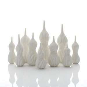 Andrew Wicks Still Life of Ten Gourd Vases, 2020 Thrown and carved porcelain H.15 3/8 W.25 1/4 D.11 3/4 in