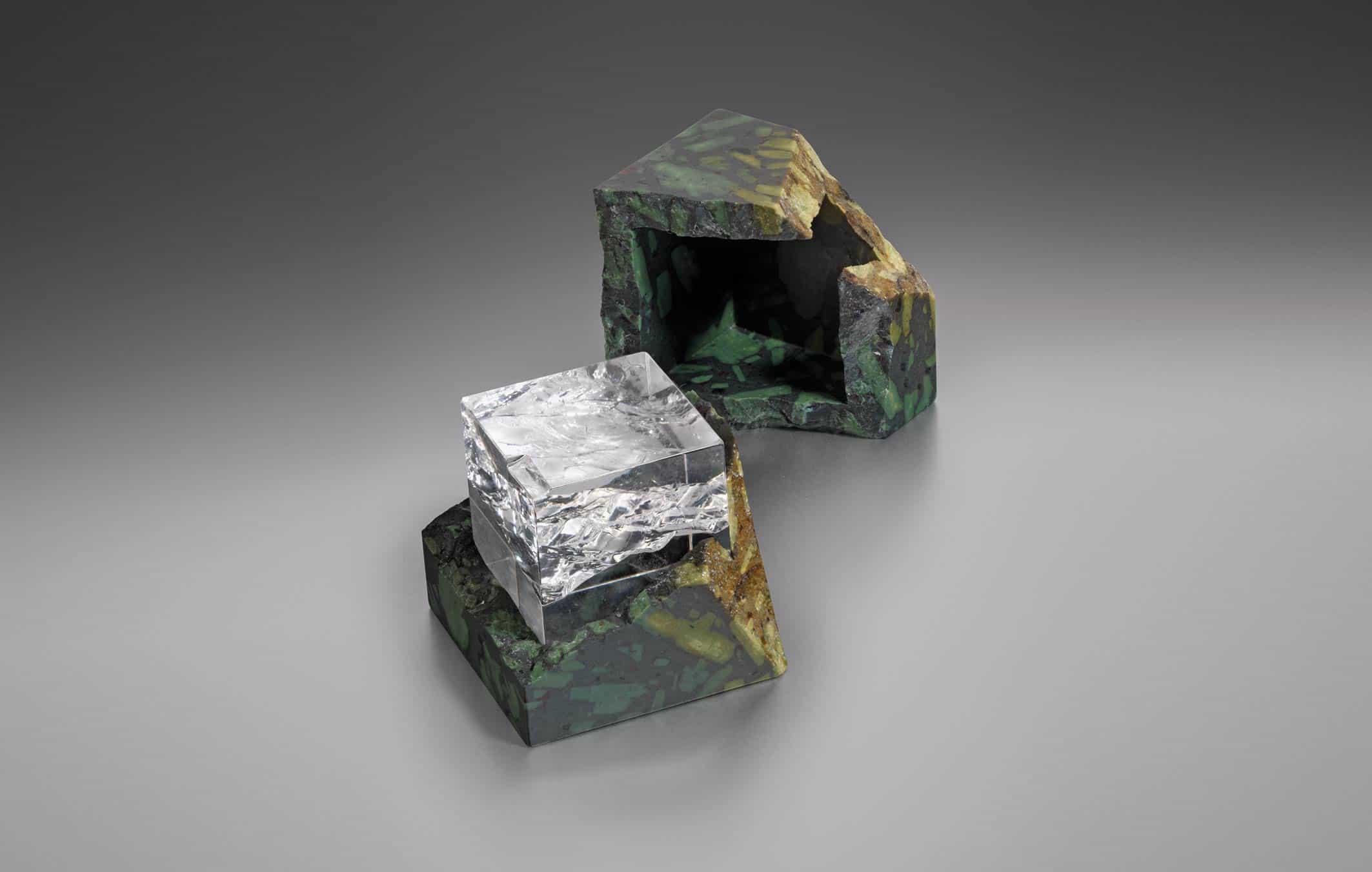 Ben Gaskell Break box porhyryr box containing a split rock-crystal cube