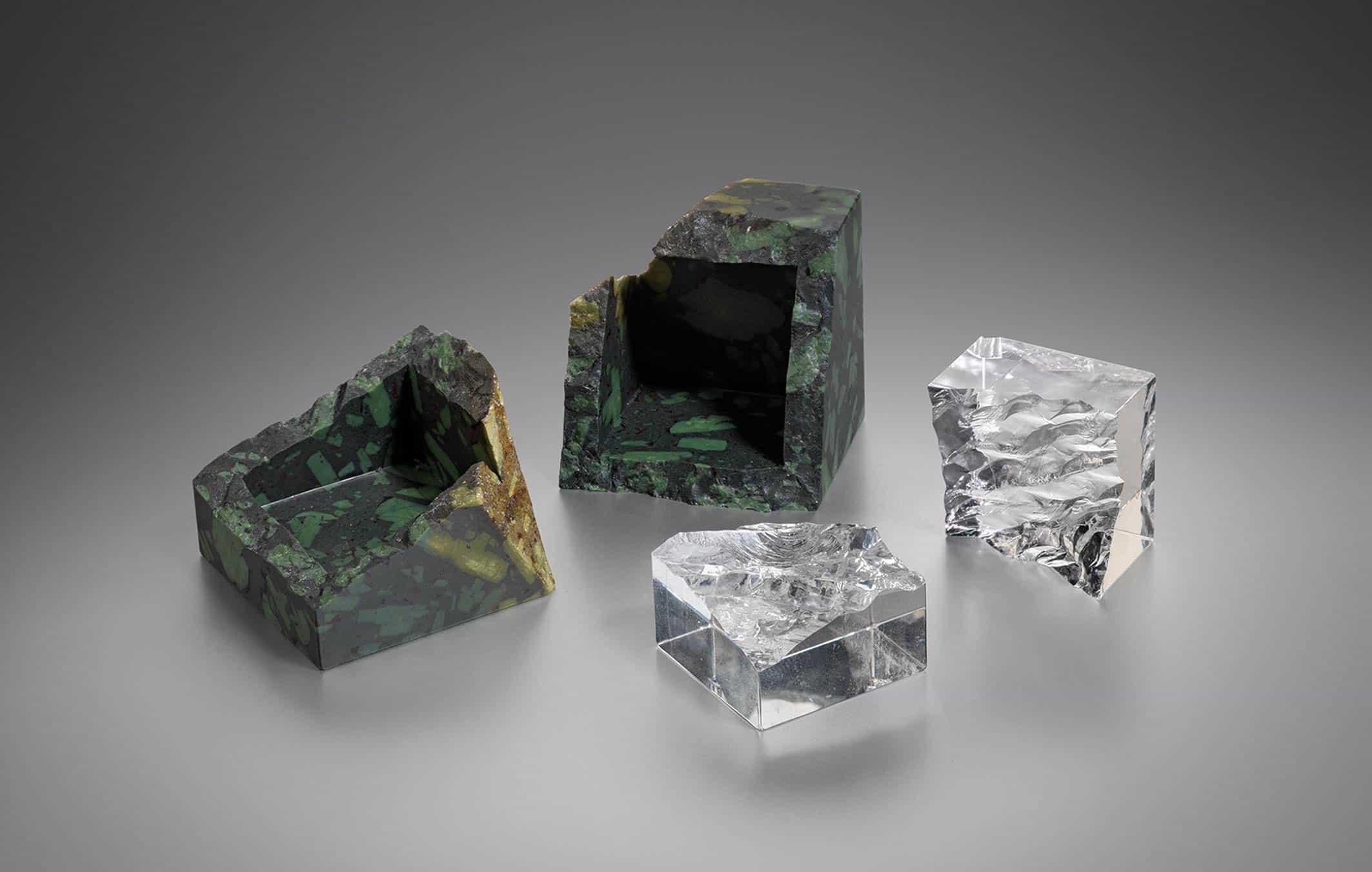 Ben Gaskell Break box porhyryr box containing a split rock-crystal cube