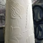 Felicity Aylieff Monumental Carved Domed Obelisk, 2019 Thrown and unglazed porcelain, hand-carved Made by the artist in Jingdezhen, China