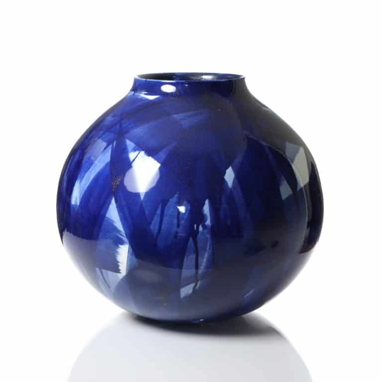 Felicity Aylieff Round Blue & White Vase, 2019 Thrown and glazed porcelain, hand painted with cobalt blue oxide Made by the artist in Jingdezhen, China