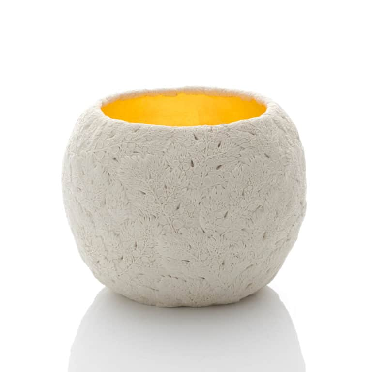 Hitomi Hosono A Hawthorn Bowl, 2020 Moulded, carved and hand-built porcelain with yellow gold leaf interior