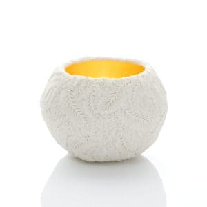 Hitomi Hosono A Small Wisteria Bowl, 2020 Moulded, carved and hand-built porcelain with yellow gold leaf interior