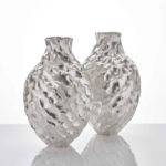 A Pair Seni Vases, 2020 Hammer-raised and chased Fine silver 999 Made by the artist in Japan Height 39.5cm (15 1/2