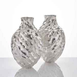 "A Pair Seni Vases, 2020 Hammer-raised and chased Fine silver 999 Made by the artist in Japan Height 39.5cm (15 1/2"") Diameter 26cm (10 1/4"")"