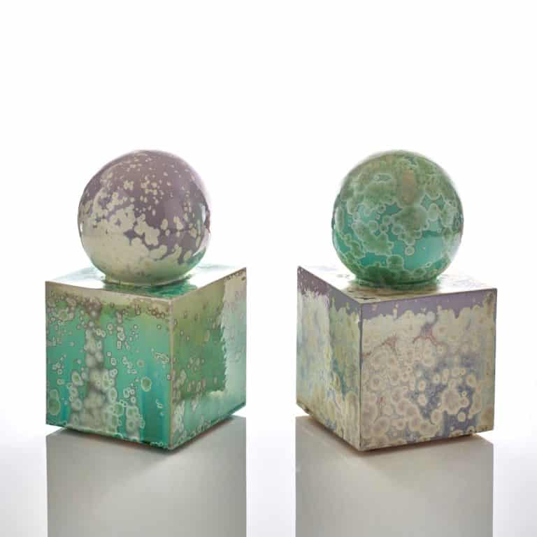 Kate Malone Large Pair of Spheres and Cubes - Bookends, 2020 Crystalline-glazed stoneware