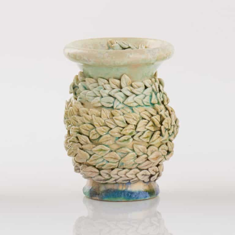 Kate Malone Baby Bud Winding Alice Leaves Vase, 2016 Crystalline-glazed stoneware and porcelain