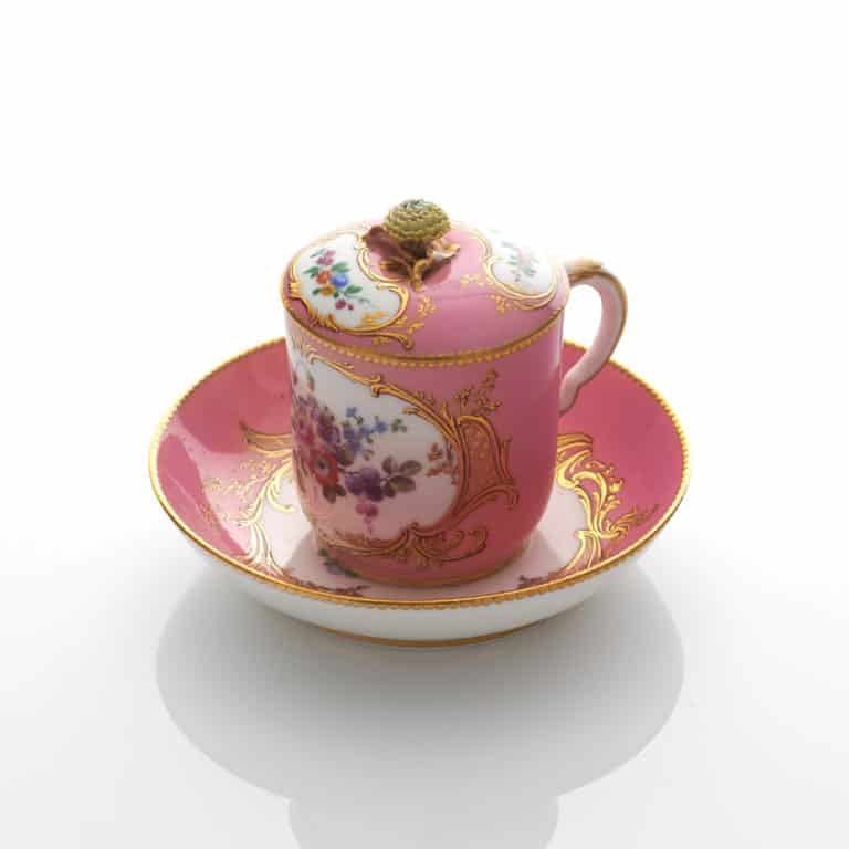 A Pink ground Sèvres Covered Cup & Saucer circa 1760