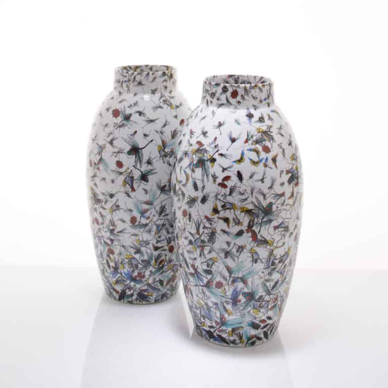 A pair of dancing insect vases by Felicity Aylieff
