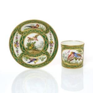 A Sèvres Cup & Saucer (gobelet Litron et soucoupe) green bands, birds by Armand, circa 1760