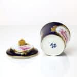 A Vincennes Sugar Bowl and Cover (pot à sucre à la reine) bleu lapis, enfants camaieu