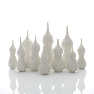 A Still Life of Ten Gourd Vases, 2020 Thrown and carved porcelain by Andrew Wicks