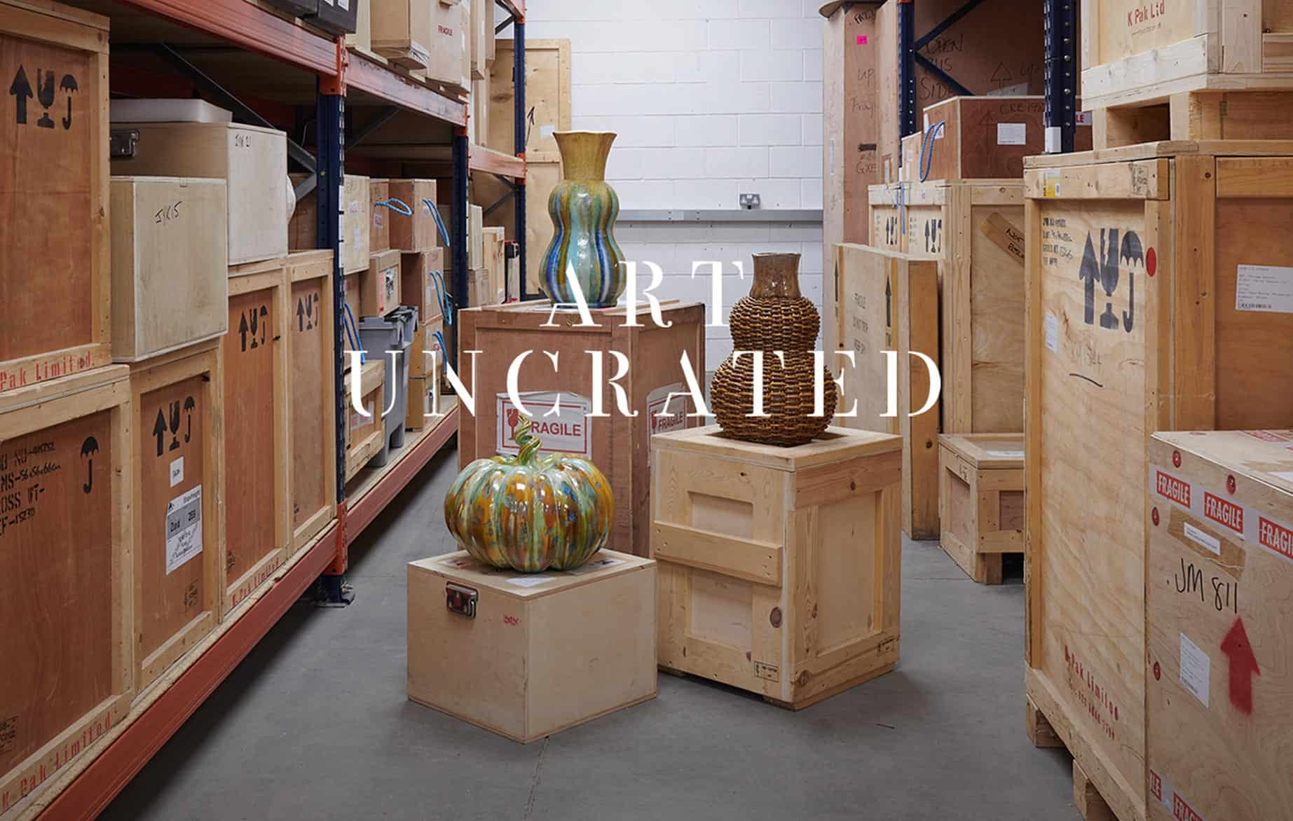 Art Uncrated text over image of three kate malone sculptures in a warehouse